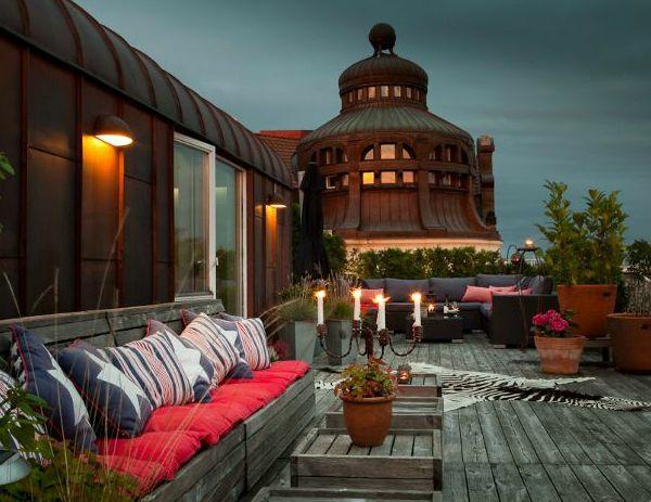 dachterrasse sofas beleuchtung balkonteppich