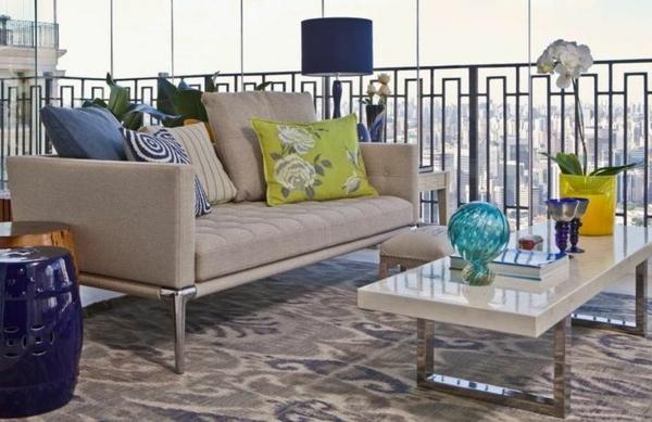 dachterrasse urban patio sofa beleuchtung balkonteppich