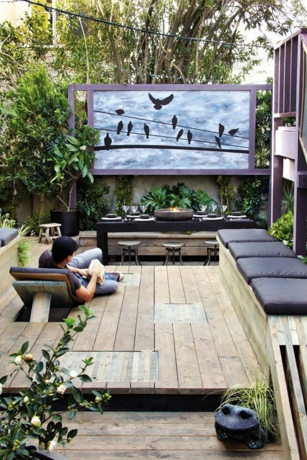 dachterrassengestaltung ideen holz terrassendielen bildschirm heimkino esszimmer