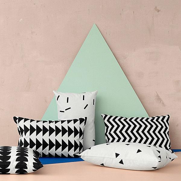deko ideen kissen kissenbezüge selber nähen geometrische muster schwarz weiß