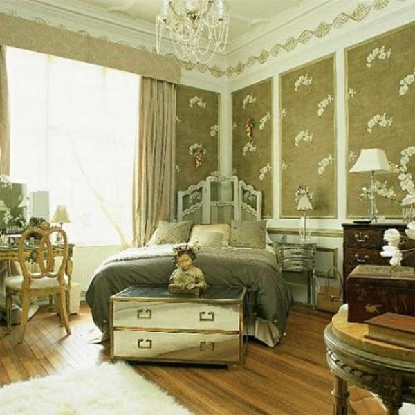 dekoideen schlafzimmer wandgestaltung schick bett
