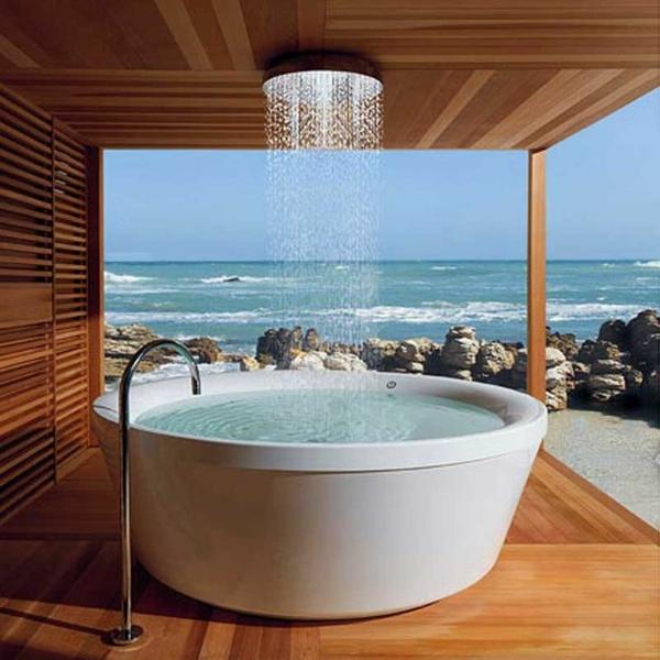 design ideen für einrichtung regendusche badewanne