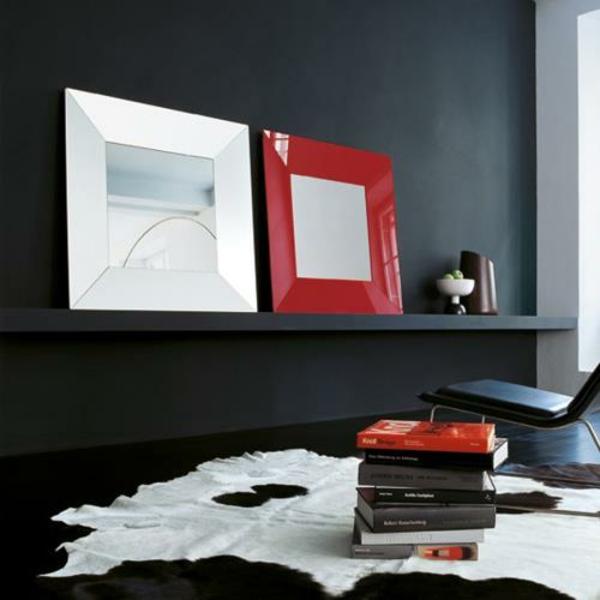 designer spiegel rahmen rot weiß