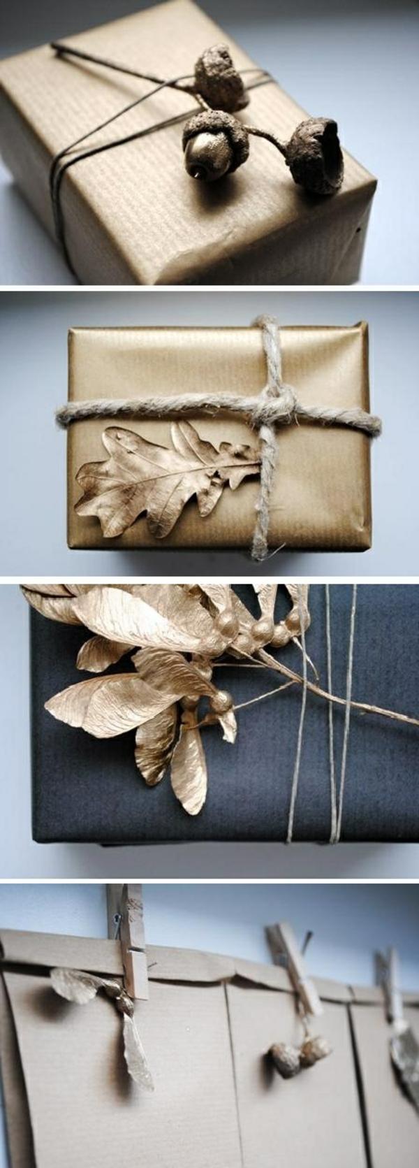 diy ideen geschenkverpackung farbspry gold