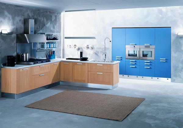 einrichtnugsideen wohnideen küche wandfarbe blau
