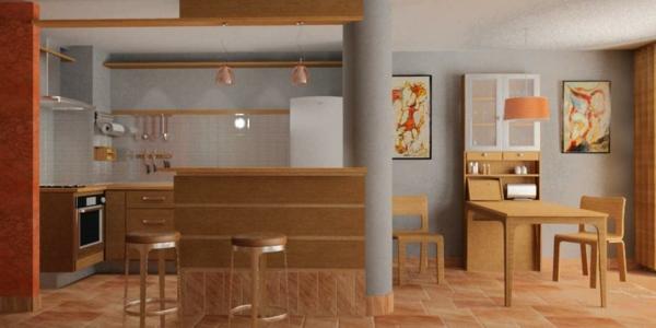 einrichtnugsideen wohnideen küche wandfarbe holz