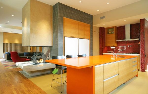 einrichtnugsideen-wohnideen-küche-wandfarbe-orange-gelb