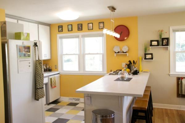 einrichtnugsideen wohnideen küche wandfarbe orange