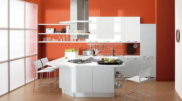 einrichtungsideen wohnideen küche wandfarbe rot knall