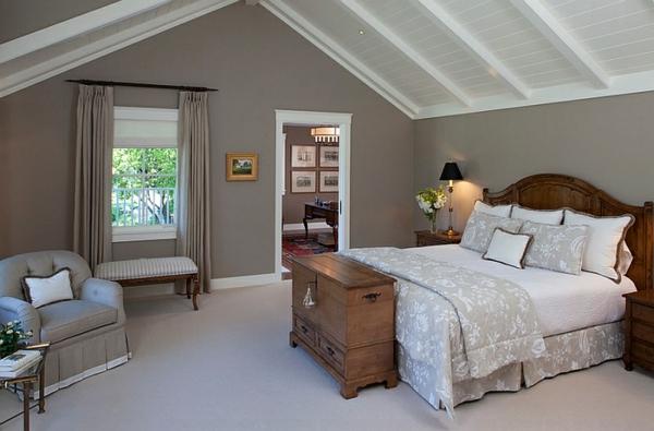 einrichtungsideen landhaus schlafzimmer dachschräge bett