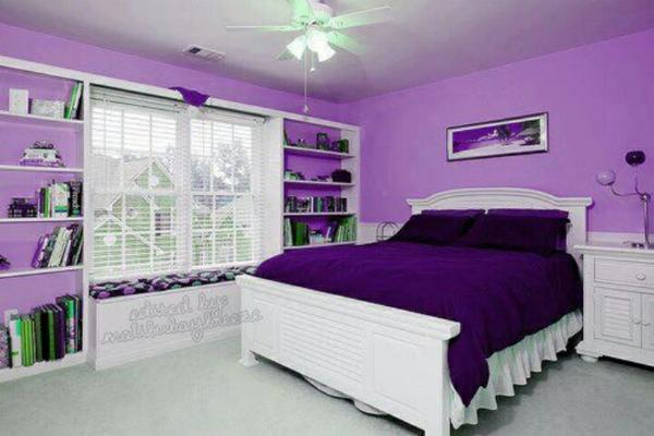 einrichtungsideen lila schlafzimmer bett regal