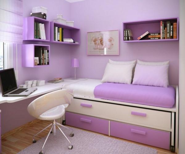 einrichtungsideen lila zimmer bett mit lagerraum  lila weiß arbeitstisch