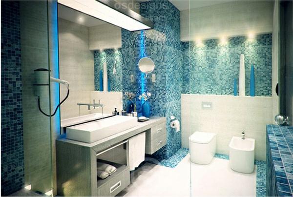 einrichtungsideen moderne badezimmer blau grau