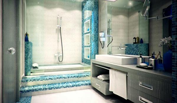 Badezimmer Blau Grau ? Goldchunks.info Badezimmer Grau Mit Mosaik Blau