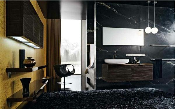 einrichtungsideen moderne badezimmer schwarz teppich