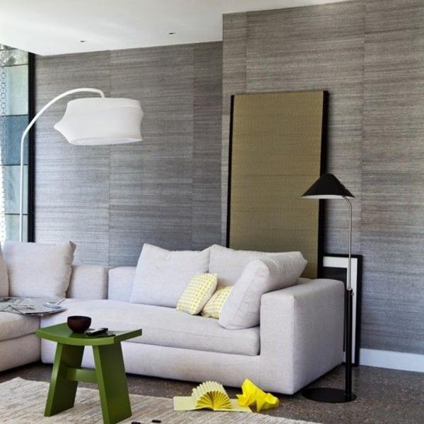 einrichtungsideen wohnzimmer wohnzimmer tapeten grau grüner tisch