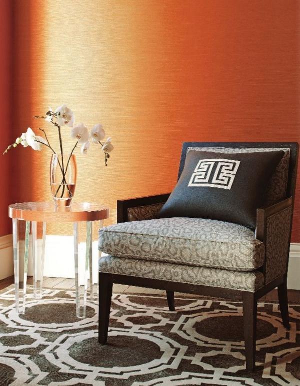 wohnzimmer wohnzimmer tapeten orange teppich