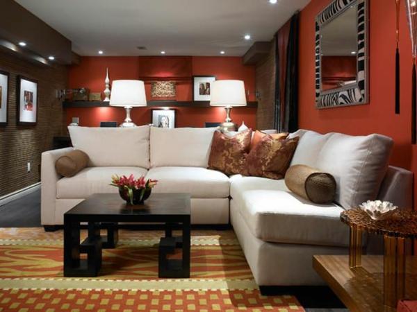 wohnzimmer rot braun:einrichtungsideen wohnzimmer wohnzimmertapete rot braun sofa teppich
