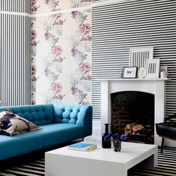 wohnzimmer wohnzimmertapete schwarz weiße streifen