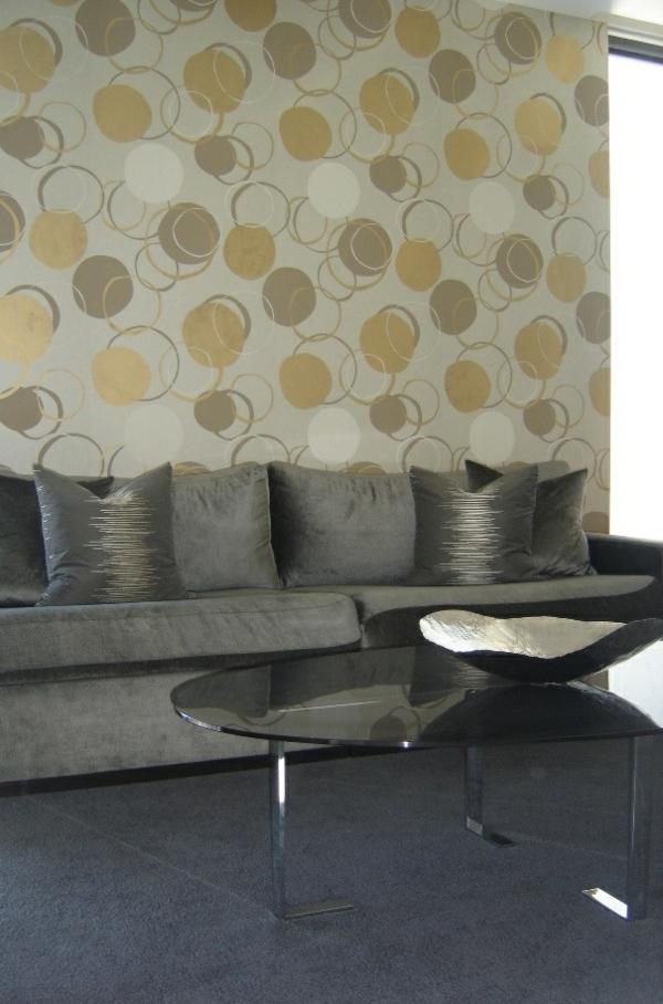 einrichtungsideen wohnzimmer wohnzimmertapete sofa