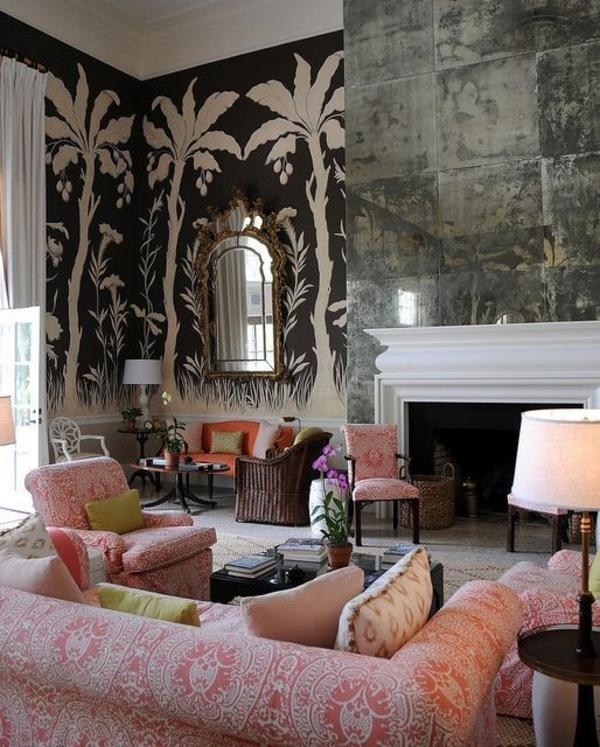 einrichtungsideen wohnzimmer tapete palmen sofa