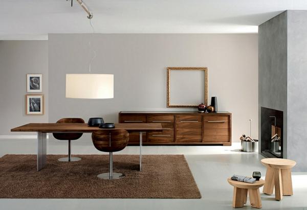 moderne esszimmer einrichten minimalistisch esstisch holzeinrichtung betonoptik wände teppich