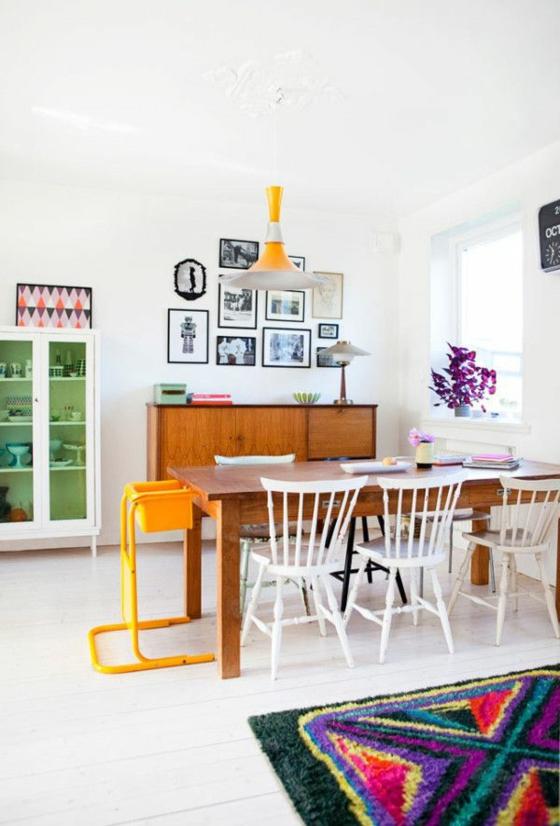 esszimmer einrichten raumgestaltung esstisch stühle eklektischer stil wandgestaltung