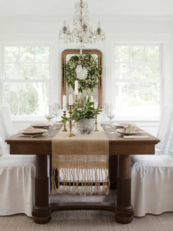 esszimmer einrichten landhausstil stühle weiß bezogen