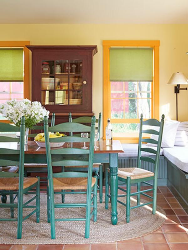 esszimmergestaltung landhausstil türkis farben stühle