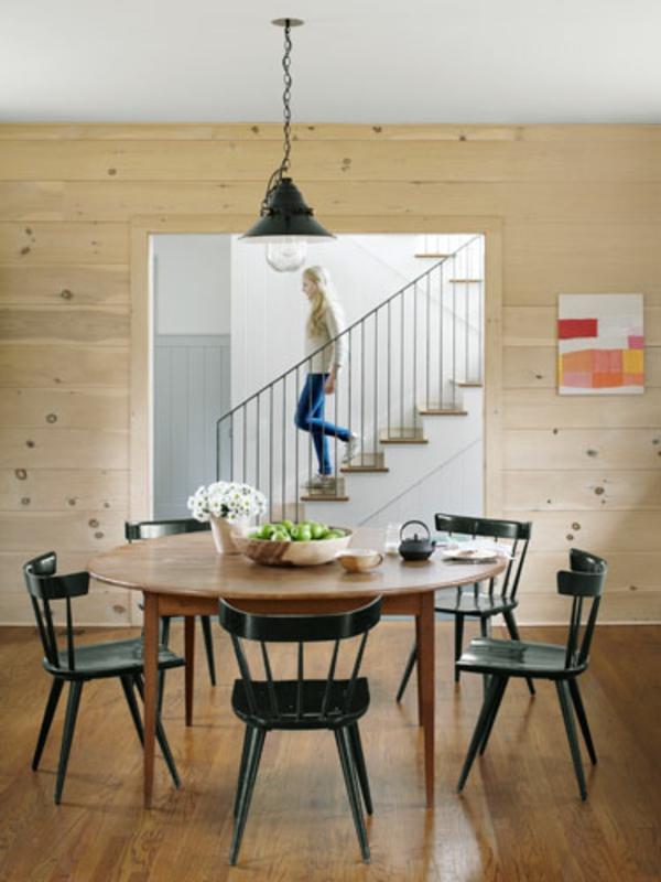 esszimmergestaltung landhausstil treppe hängelampe