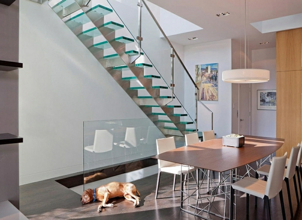 Exklusive Design Ideen Treppen Geländer Glas Esszimmer