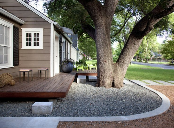 Exterior Designideen Moderne Vorgartengestaltung Baum Kies Holz