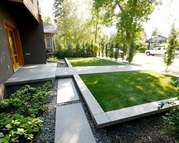 exterior designideen moderne vorgartengestaltung symmetrisch rasenflächen
