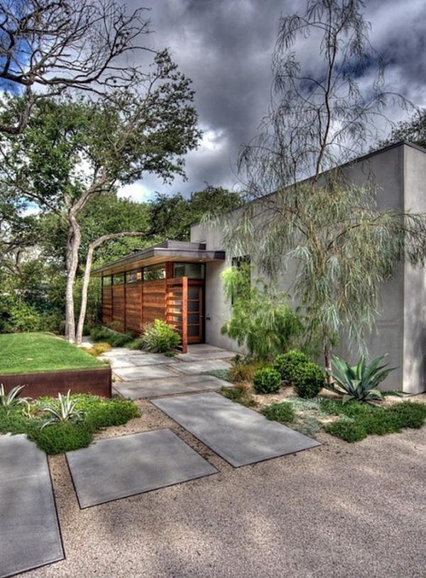 Exterior Designideen Vorgartengestaltung Betonplatten Kies