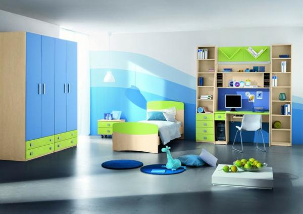 farbgestaltung wandfarben farbpalette muster wanddeko blau grün