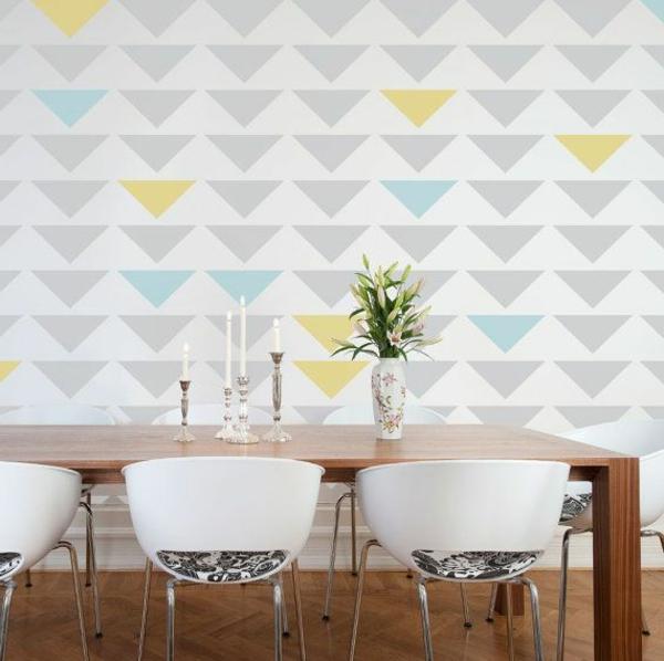 farbgestaltung Farbpaletten für Wandfarben muster wanddeko esszimmer
