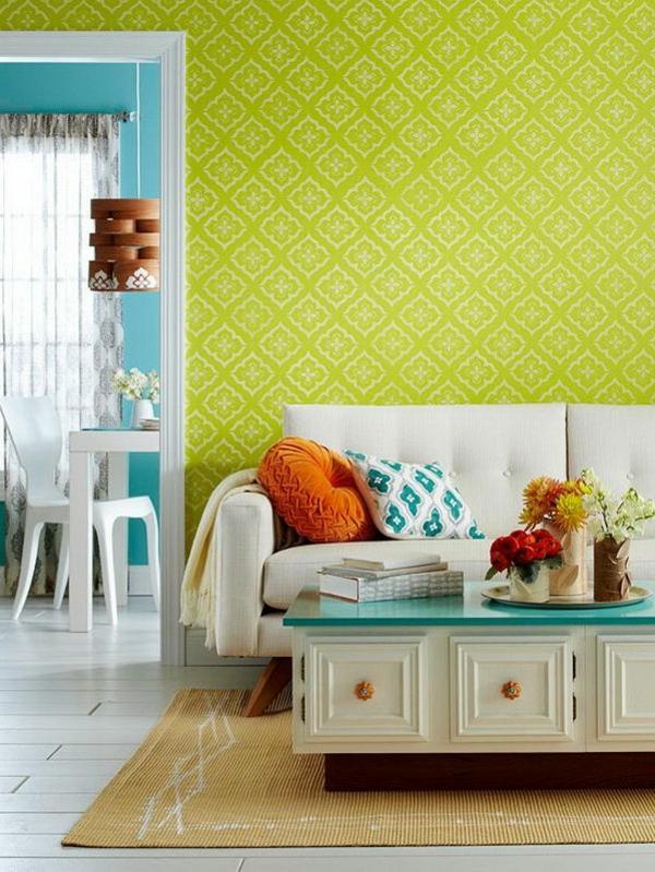 farbgestaltung Farbpaletten für Wandfarben muster wanddeko grün