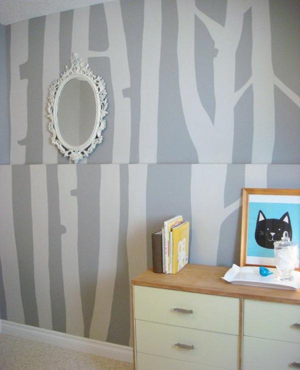 Farbgestaltung Wandfarben Farbpalette Muster Wanddeko Grau Baum