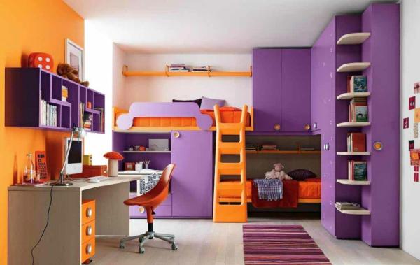 farbgestaltung wandfarben farbpalette muster wanddeko lila orange