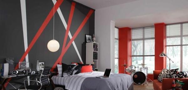 farbgestaltung wandfarben farbpalette muster wanddeko rot weiß