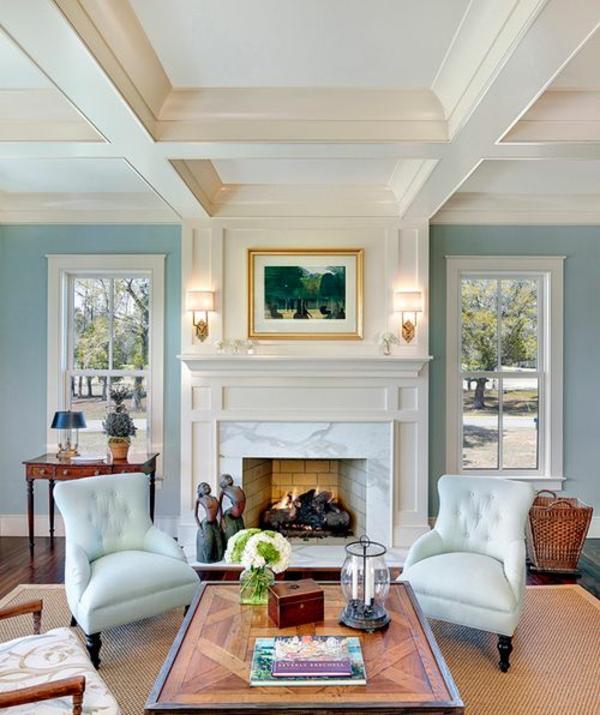 farbgestaltung wohnzimmer ideen wandfarbe taubenblau