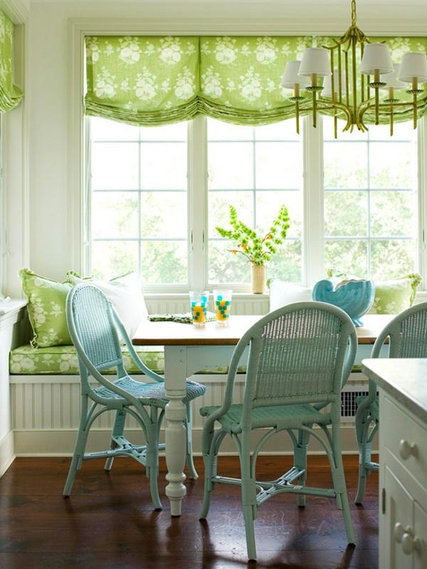 Fensterbank Ideen Frische Farben Rolos Tisch