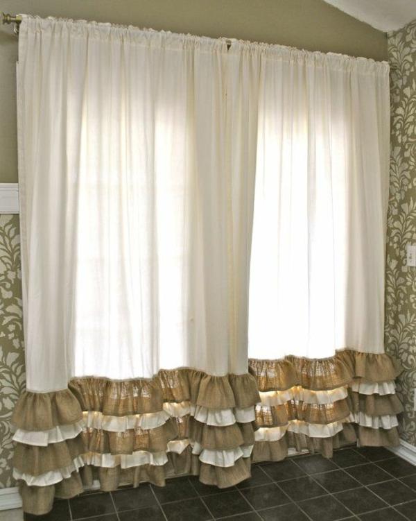 Fenstergardinen Gardinendekoration Beispiele Weiß Gekräuselt