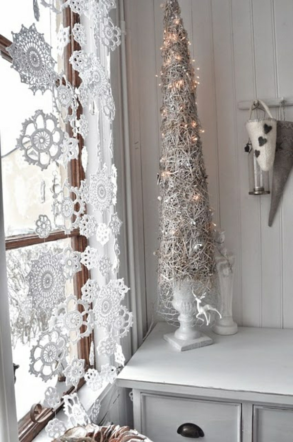 gardinendekoration beispiele fenstergardinen schneeflocken
