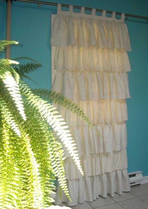 gardinendekoration beispiele gekr uselt sackleinen baumwolle. Black Bedroom Furniture Sets. Home Design Ideas