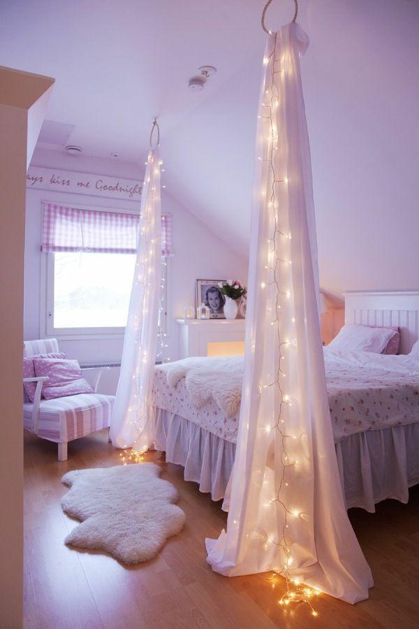 gardinendekoration-beispiele-schlafzimmer-gardinen-mit-beleuchtung-himmelbett