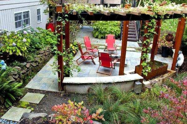 garten design patio pergola kletterpflanzen