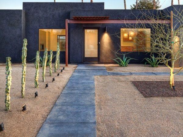 Garten Designideen Moderne Vorgartengestaltung Kakteen Beleuchtung Beton