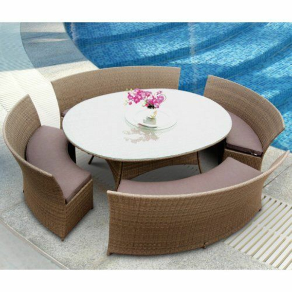 garten designideen patio gastronomie outdoor möbel rund form