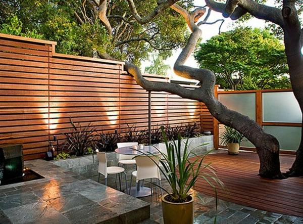 Elegant Garten Designideen Vorgartengestaltung Modern Holzzaun Sichtschutz